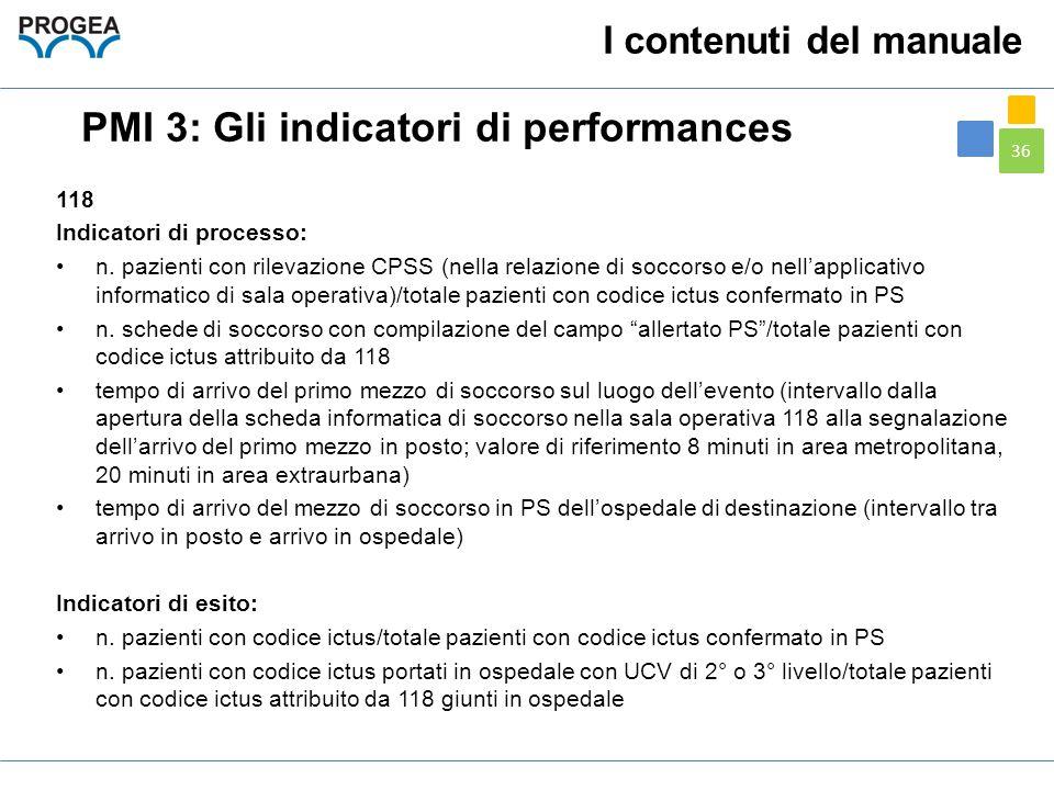 36 I contenuti del manuale PMI 3: Gli indicatori di performances 118 Indicatori di processo: n. pazienti con rilevazione CPSS (nella relazione di socc