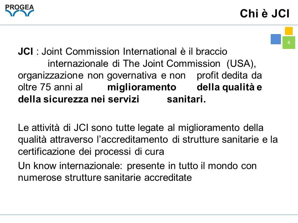 4 Chi è JCI JCI : Joint Commission International è il braccio internazionale di The Joint Commission (USA), organizzazione non governativa e non profi