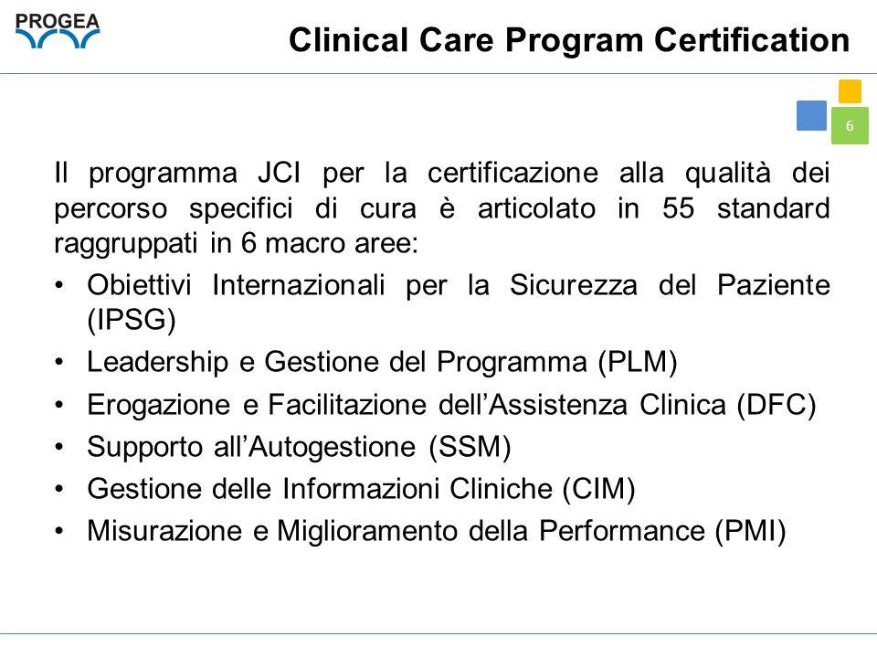 6 Clinical Care Program Certification Il programma JCI per la certificazione alla qualità dei percorso specifici di cura è articolato in 55 standard r