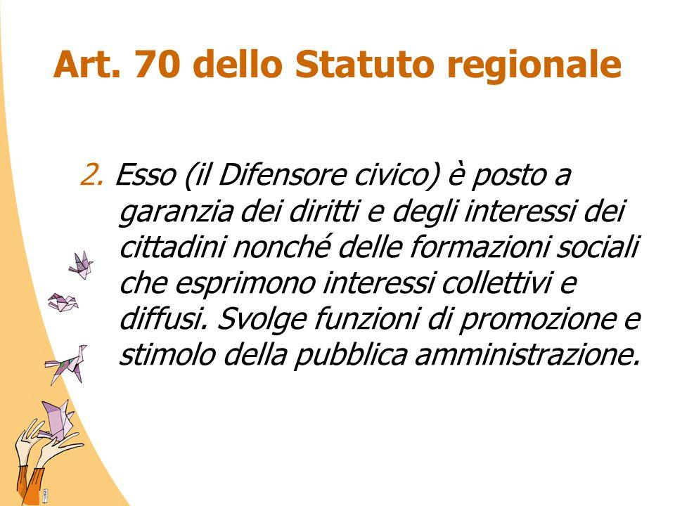 Art. 70 dello Statuto regionale 2. Esso (il Difensore civico) è posto a garanzia dei diritti e degli interessi dei cittadini nonché delle formazioni s