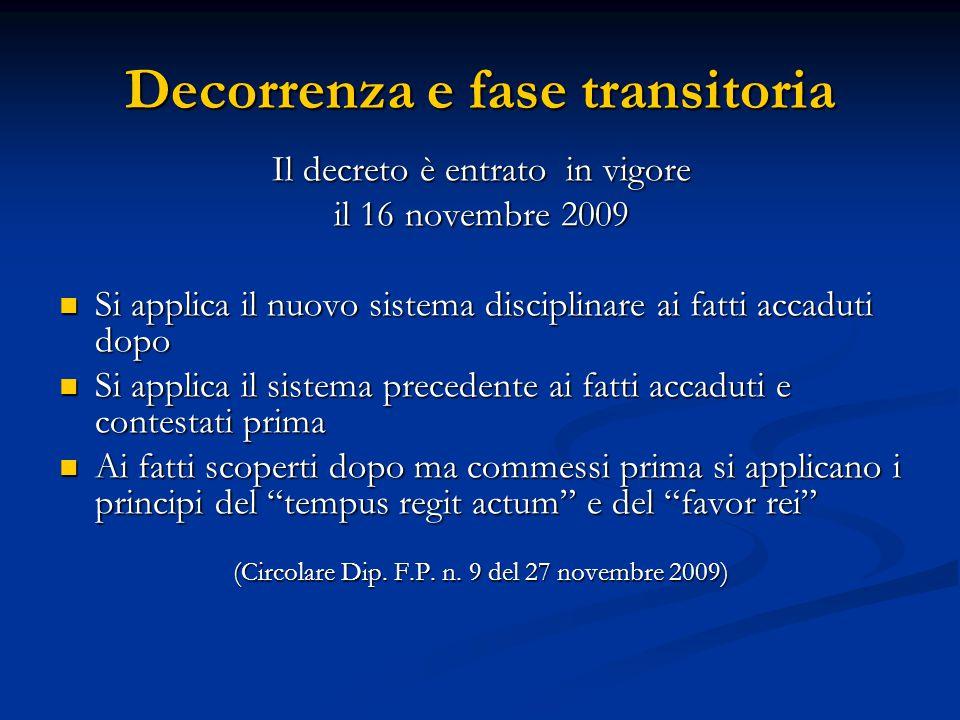 Decorrenza e fase transitoria Il decreto è entrato in vigore il 16 novembre 2009 Si applica il nuovo sistema disciplinare ai fatti accaduti dopo Si ap