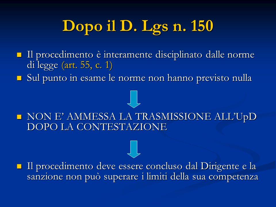 Dopo il D. Lgs n. 150 Il procedimento è interamente disciplinato dalle norme di legge (art. 55, c. 1) Il procedimento è interamente disciplinato dalle