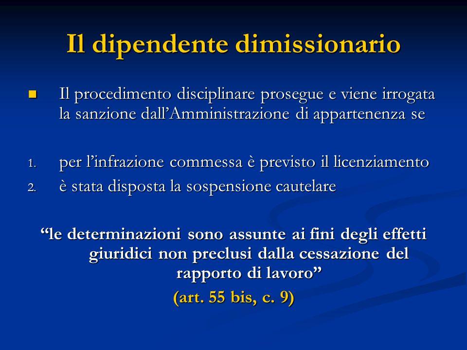 Il dipendente dimissionario Il procedimento disciplinare prosegue e viene irrogata la sanzione dall'Amministrazione di appartenenza se Il procedimento disciplinare prosegue e viene irrogata la sanzione dall'Amministrazione di appartenenza se 1.