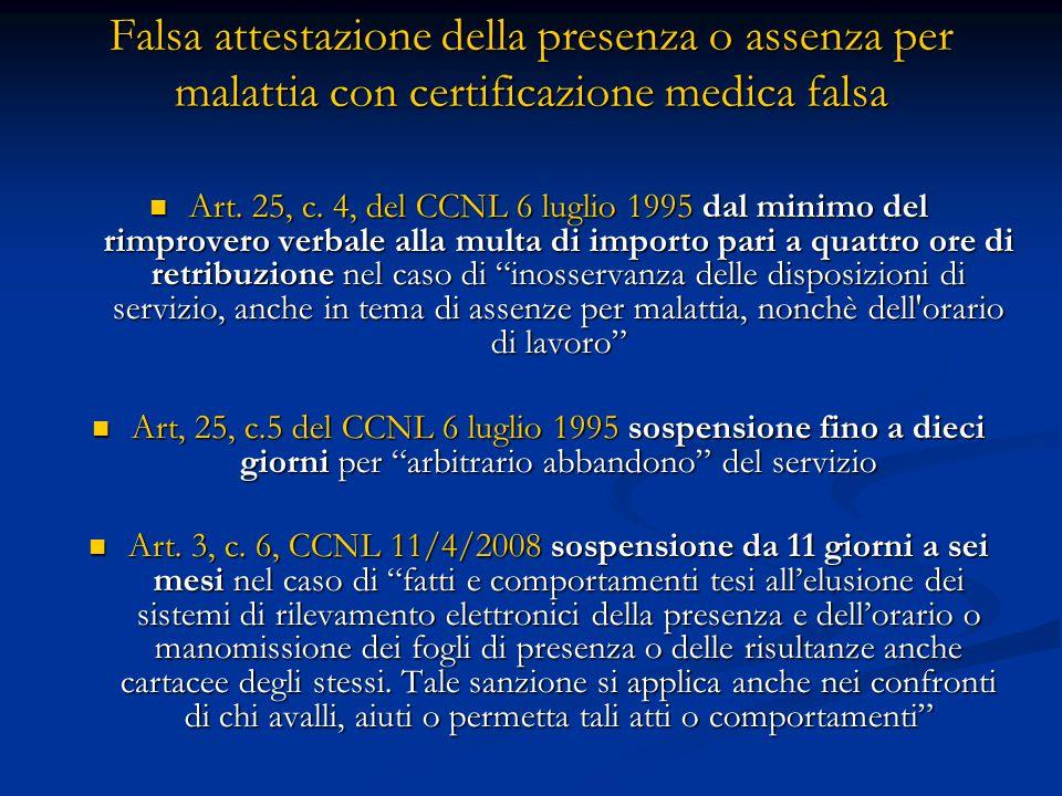 Falsa attestazione della presenza o assenza per malattia con certificazione medica falsa Art. 25, c. 4, del CCNL 6 luglio 1995 dal minimo del rimprove