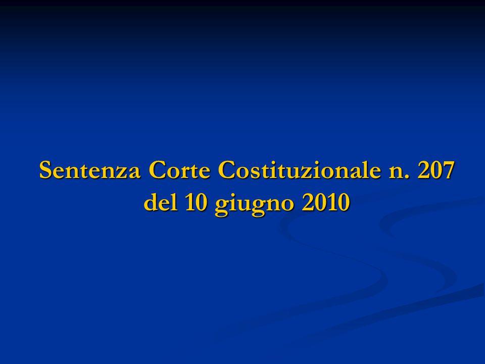Sentenza Corte Costituzionale n. 207 del 10 giugno 2010