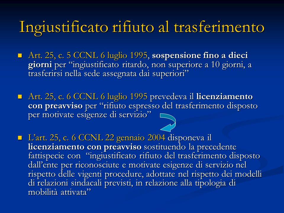 """Ingiustificato rifiuto al trasferimento Art. 25, c. 5 CCNL 6 luglio 1995, sospensione fino a dieci giorni per """"ingiustificato ritardo, non superiore a"""