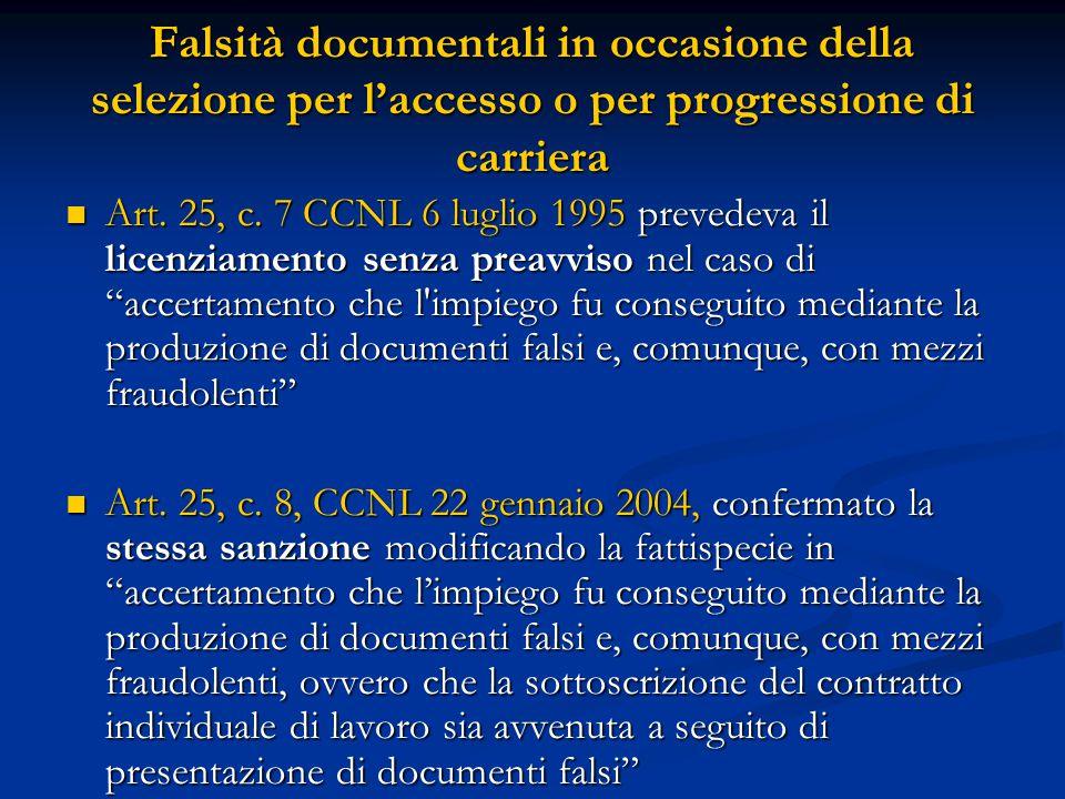 Falsità documentali in occasione della selezione per l'accesso o per progressione di carriera Art. 25, c. 7 CCNL 6 luglio 1995 prevedeva il licenziame