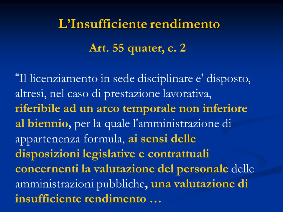 L'Insufficiente rendimento Art. 55 quater, c.