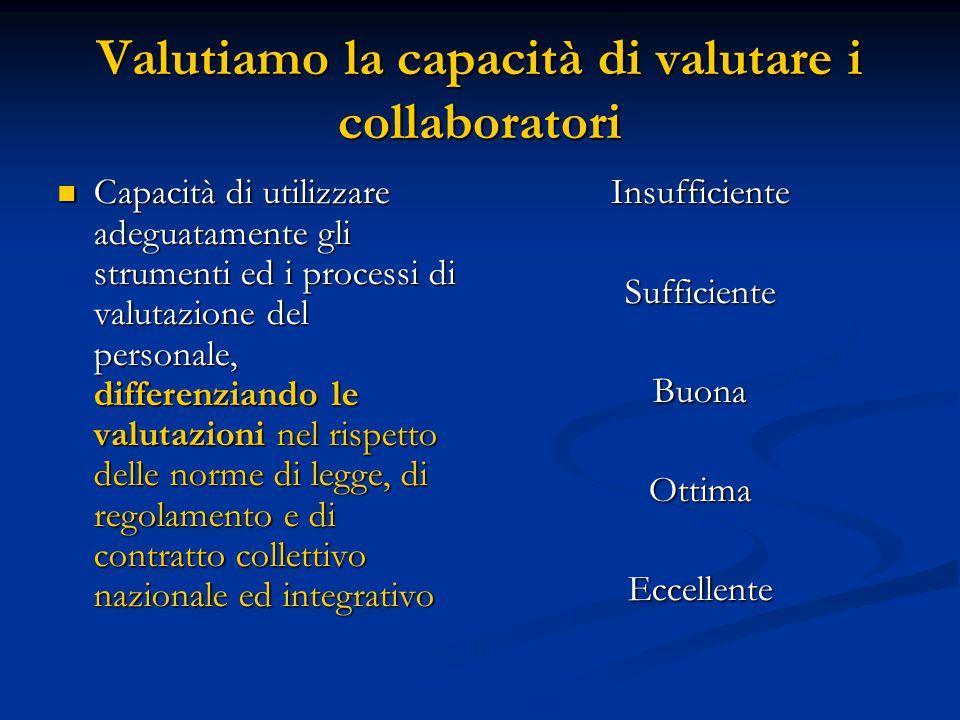 Valutiamo la capacità di valutare i collaboratori Capacità di utilizzare adeguatamente gli strumenti ed i processi di valutazione del personale, diffe