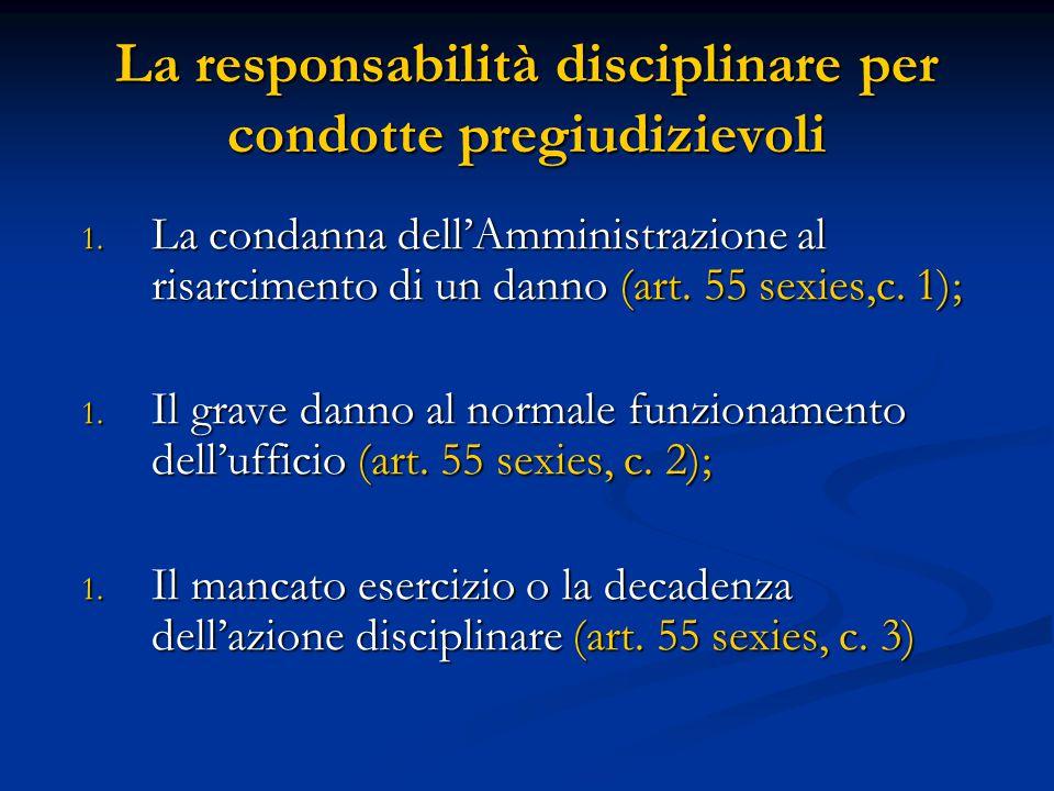 1. La condanna dell'Amministrazione al risarcimento di un danno (art. 55 sexies,c. 1); 1. Il grave danno al normale funzionamento dell'ufficio (art. 5
