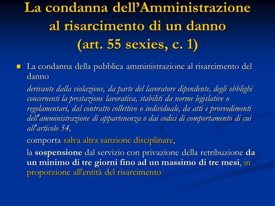 La condanna dell'Amministrazione al risarcimento di un danno (art. 55 sexies, c. 1) La condanna della pubblica amministrazione al risarcimento del dan