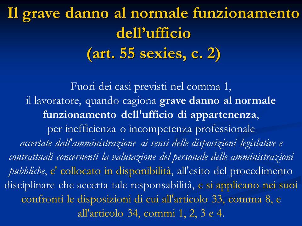 Il grave danno al normale funzionamento dell'ufficio (art. 55 sexies, c. 2) Fuori dei casi previsti nel comma 1, il lavoratore, quando cagiona grave d