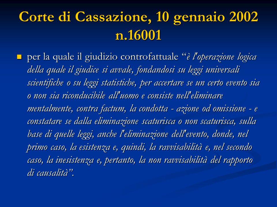 """Corte di Cassazione, 10 gennaio 2002 n.16001 per la quale il giudizio controfattuale """"è l'operazione logica della quale il giudice si avvale, fondando"""