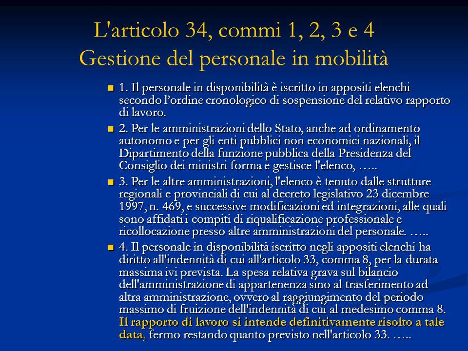 L'articolo 34, commi 1, 2, 3 e 4 Gestione del personale in mobilità 1. Il personale in disponibilità è iscritto in appositi elenchi secondo l'ordine c