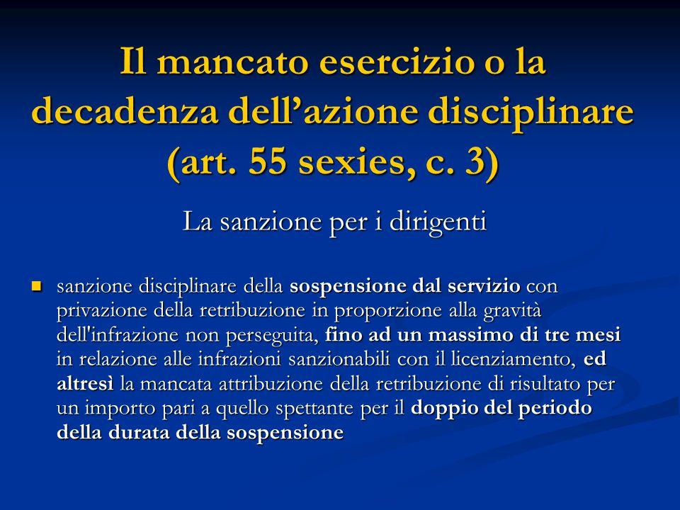 Il mancato esercizio o la decadenza dell'azione disciplinare (art. 55 sexies, c. 3) La sanzione per i dirigenti sanzione disciplinare della sospension
