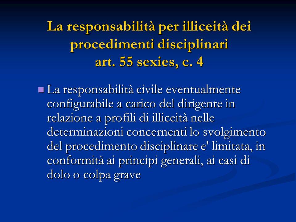 La responsabilità civile eventualmente configurabile a carico del dirigente in relazione a profili di illiceità nelle determinazioni concernenti lo sv