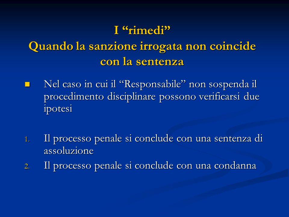 """I """"rimedi"""" Quando la sanzione irrogata non coincide con la sentenza Nel caso in cui il """"Responsabile"""" non sospenda il procedimento disciplinare posson"""