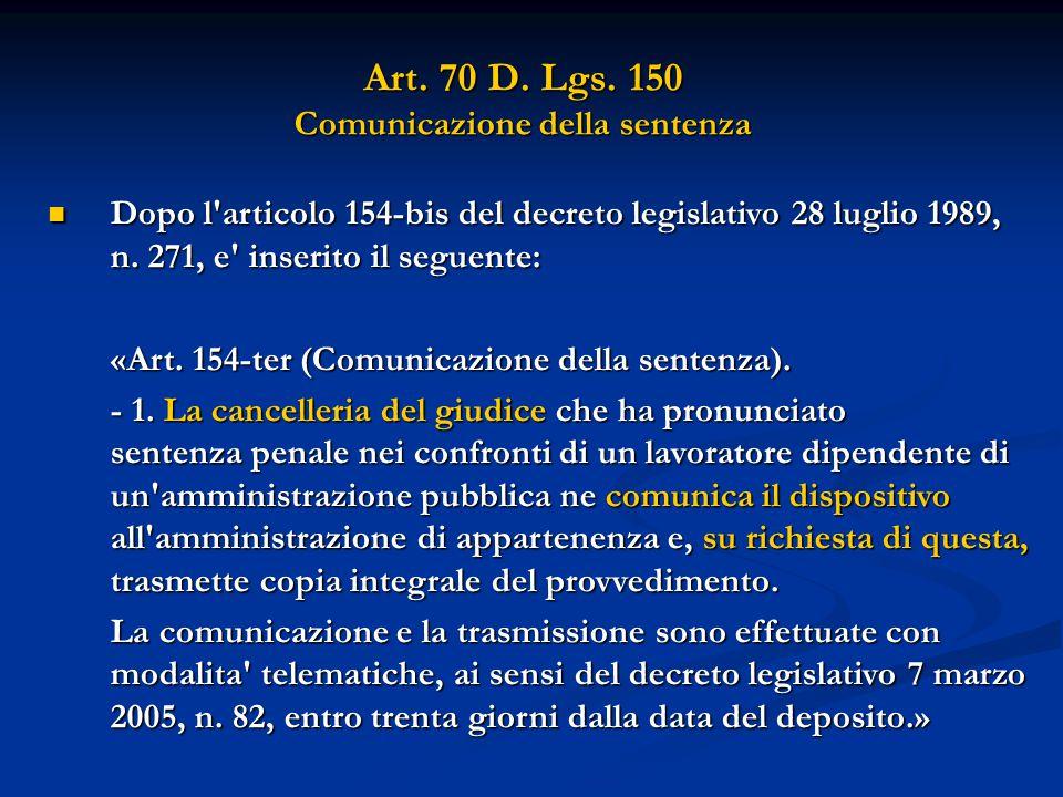 Art. 70 D. Lgs.