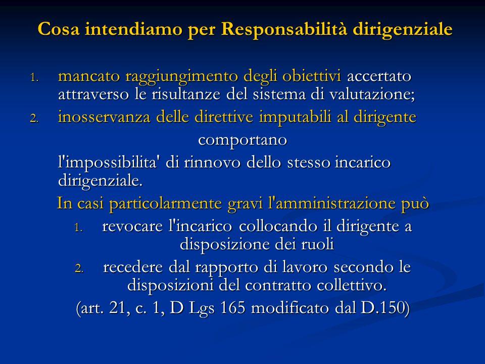 Cosa intendiamo per Responsabilità dirigenziale Cosa intendiamo per Responsabilità dirigenziale 1. mancato raggiungimento degli obiettivi accertato at