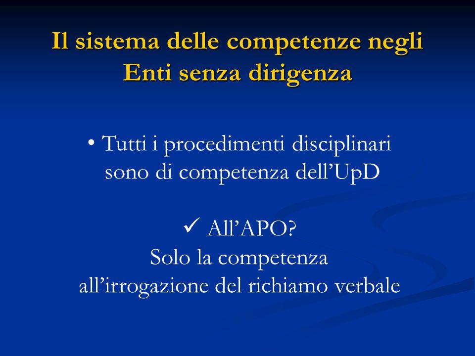 Il sistema delle competenze negli Enti senza dirigenza Tutti i procedimenti disciplinari sono di competenza dell'UpD All'APO.