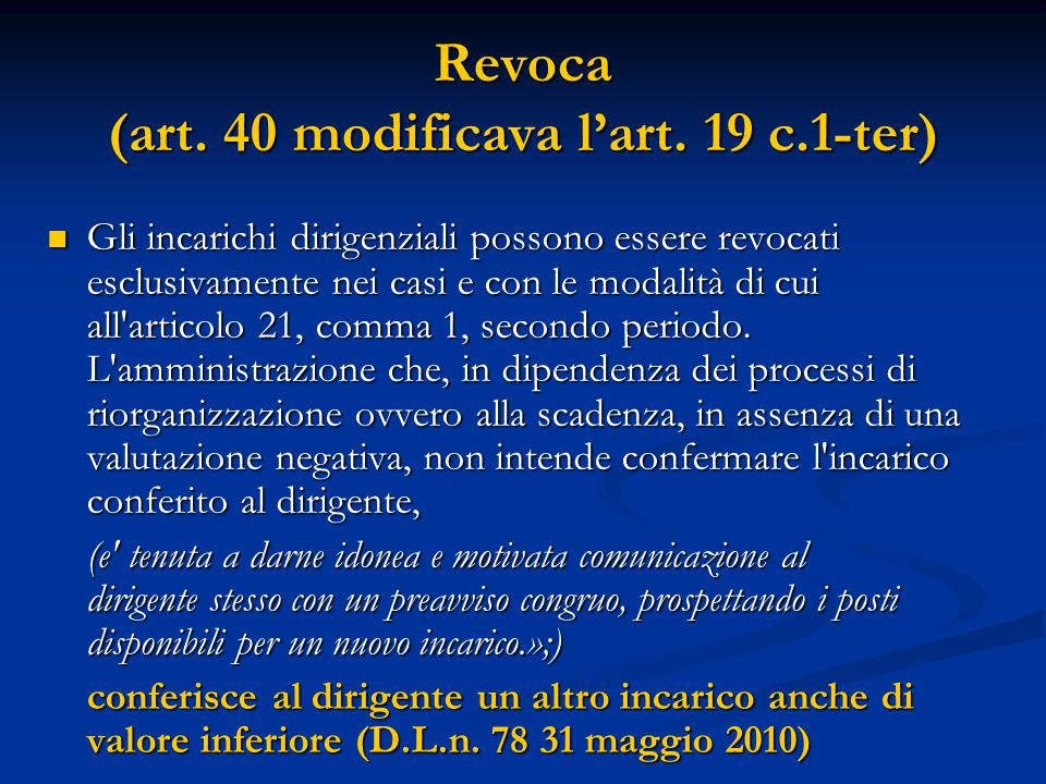Revoca (art. 40 modificava l'art.