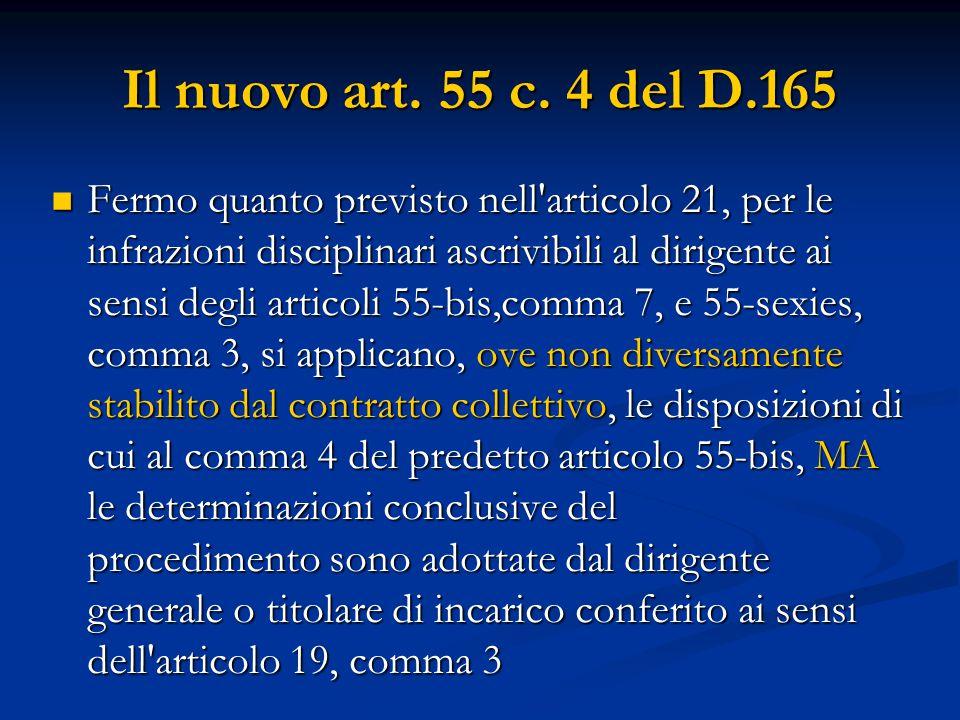 Il nuovo art. 55 c. 4 del D.165 Fermo quanto previsto nell'articolo 21, per le infrazioni disciplinari ascrivibili al dirigente ai sensi degli articol