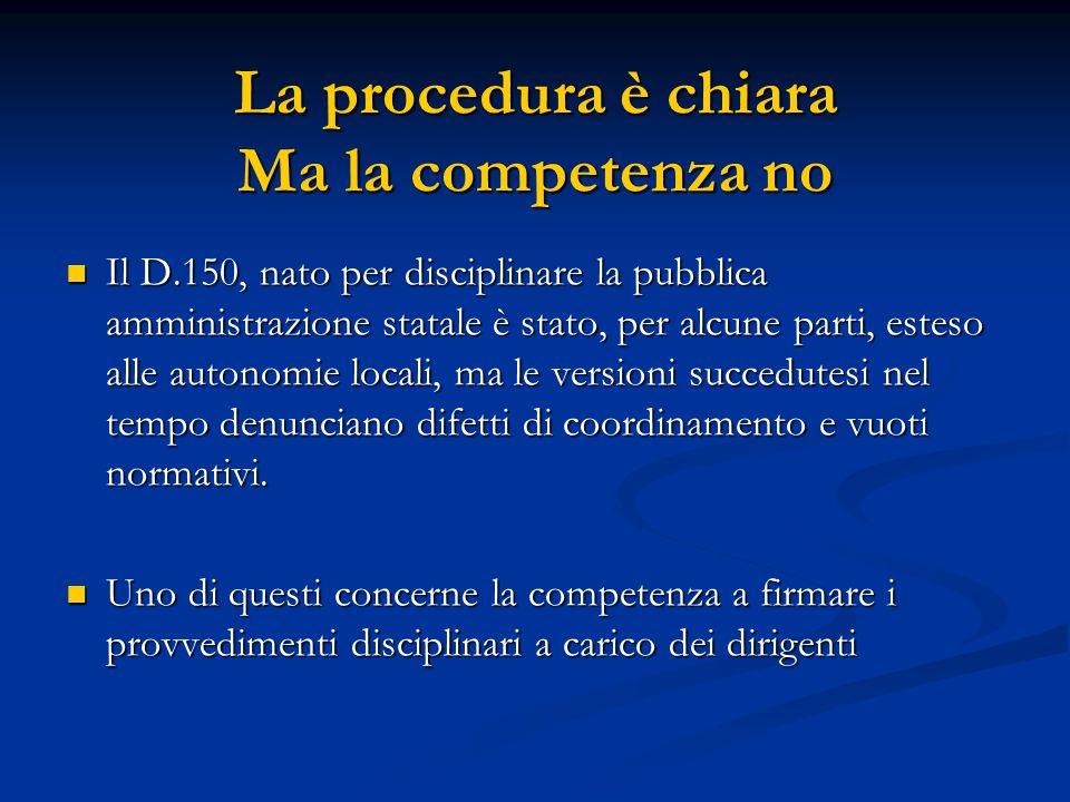 La procedura è chiara Ma la competenza no Il D.150, nato per disciplinare la pubblica amministrazione statale è stato, per alcune parti, esteso alle a