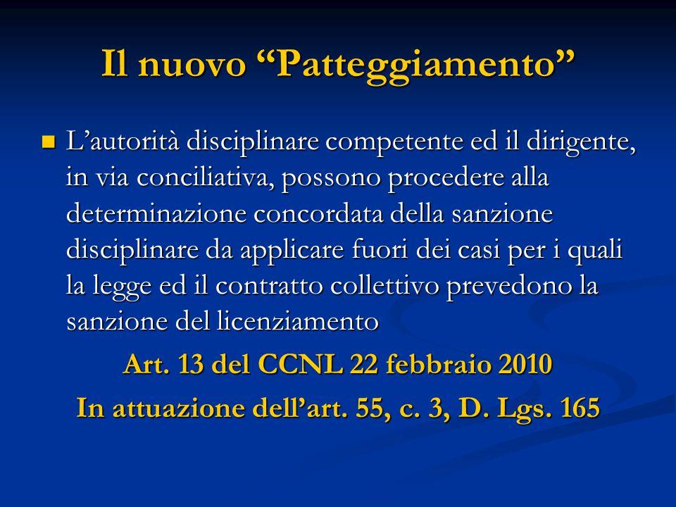 """Il nuovo """"Patteggiamento"""" L'autorità disciplinare competente ed il dirigente, in via conciliativa, possono procedere alla determinazione concordata de"""