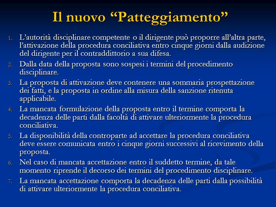 """Il nuovo """"Patteggiamento"""" 1. L'autorità disciplinare competente o il dirigente può proporre all'altra parte, l'attivazione della procedura conciliativ"""