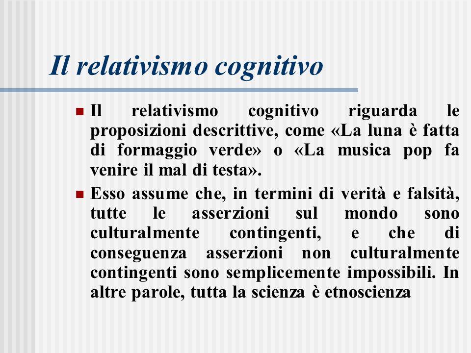 Il relativismo cognitivo riguarda le proposizioni descrittive, come «La luna è fatta di formaggio verde» o «La musica pop fa venire il mal di testa».
