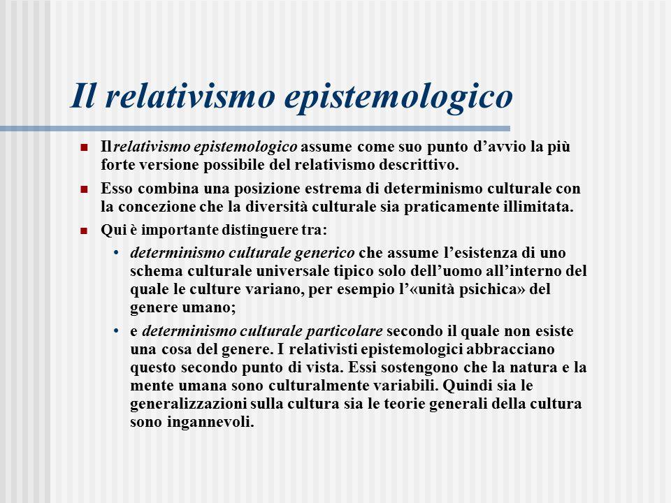 Ilrelativismo epistemologico assume come suo punto d'avvio la più forte versione possibile del relativismo descrittivo.