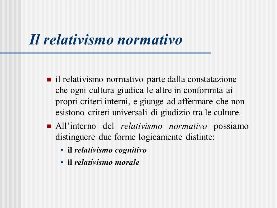 il relativismo normativo parte dalla constatazione che ogni cultura giudica le altre in conformità ai propri criteri interni, e giunge ad affermare che non esistono criteri universali di giudizio tra le culture.