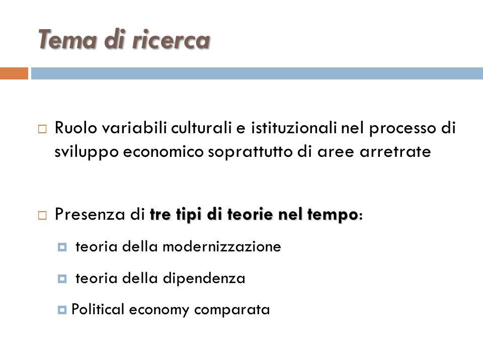Tema di ricerca  Ruolo variabili culturali e istituzionali nel processo di sviluppo economico soprattutto di aree arretrate tre tipi di teorie nel te