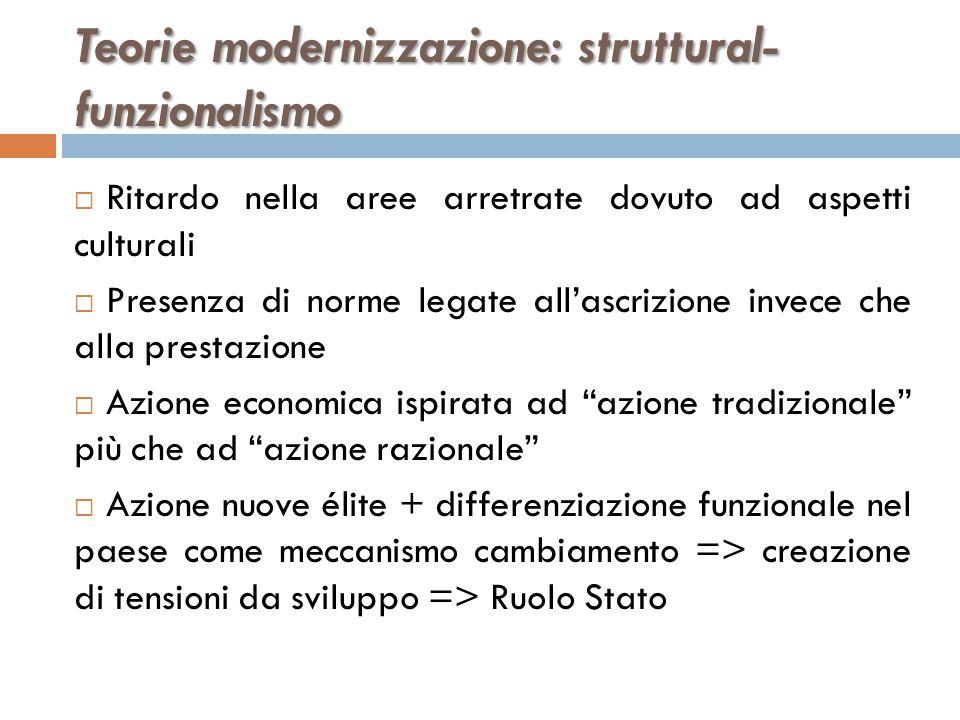 Teorie modernizzazione: struttural- funzionalismo  Ritardo nella aree arretrate dovuto ad aspetti culturali  Presenza di norme legate all'ascrizione