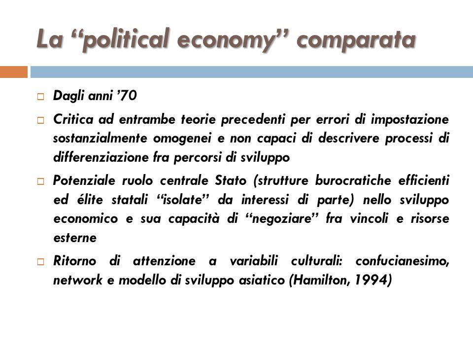 """La """"political economy"""" comparata  Dagli anni '70  Critica ad entrambe teorie precedenti per errori di impostazione sostanzialmente omogenei e non ca"""