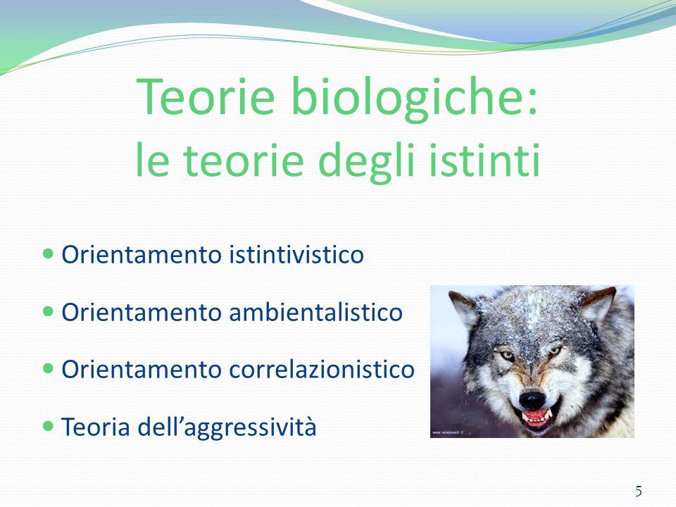 Teorie biologiche: le teorie degli istinti Orientamento istintivistico Orientamento ambientalistico Orientamento correlazionistico Teoria dell'aggress