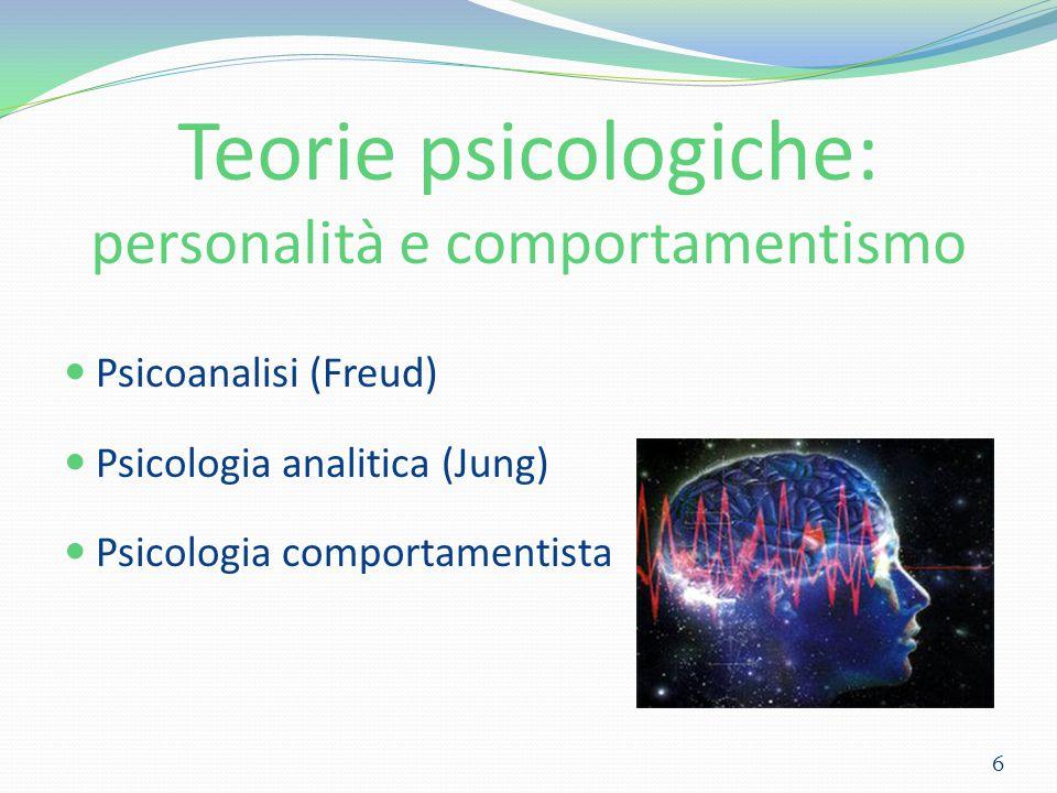Teorie psicologiche: personalità e comportamentismo Psicoanalisi (Freud) Psicologia analitica (Jung) Psicologia comportamentista 6
