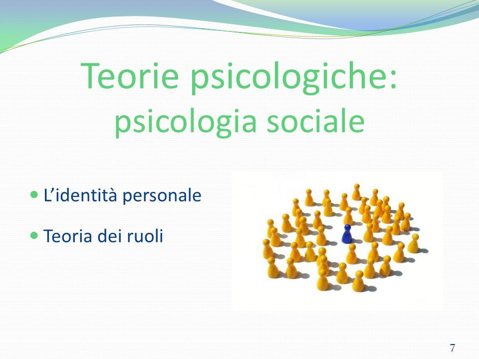 Teorie psicologiche: psicologia sociale L'identità personale Teoria dei ruoli 7