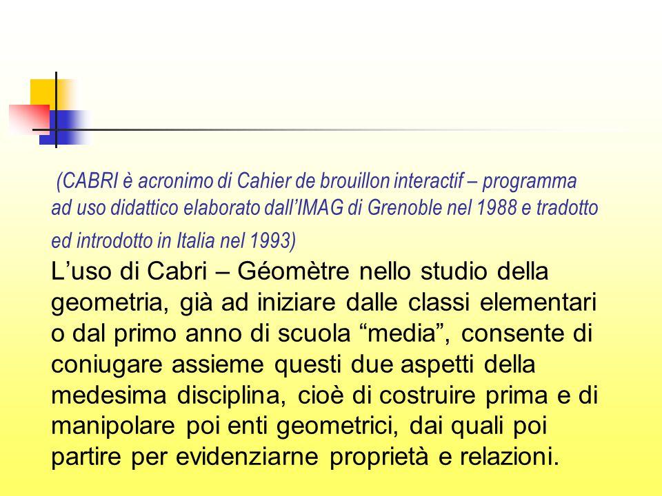 (CABRI è acronimo di Cahier de brouillon interactif – programma ad uso didattico elaborato dall'IMAG di Grenoble nel 1988 e tradotto ed introdotto in