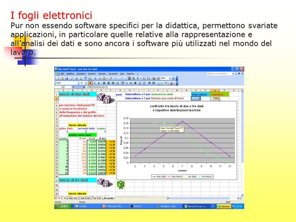 I fogli elettronici Pur non essendo software specifici per la didattica, permettono svariate applicazioni, in particolare quelle relative alla rappres