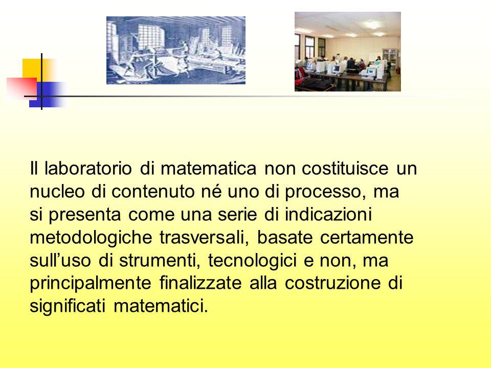 Il laboratorio di matematica non costituisce un nucleo di contenuto né uno di processo, ma si presenta come una serie di indicazioni metodologiche trasversali, basate certamente sull'uso di strumenti, tecnologici e non, ma principalmente finalizzate alla costruzione di significati matematici.