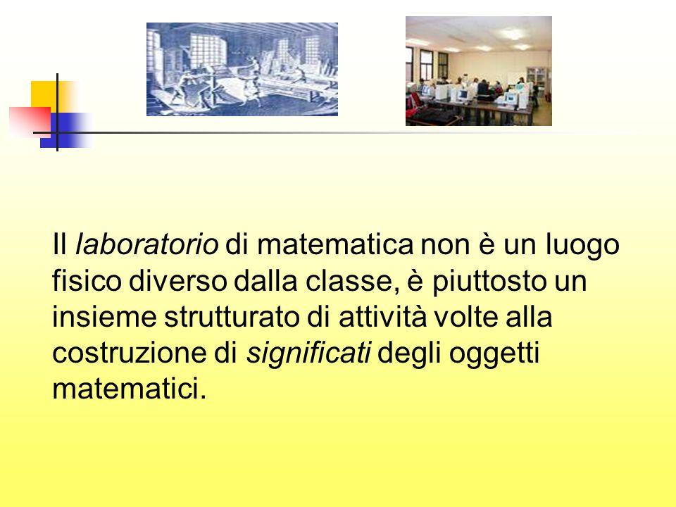 Il laboratorio di matematica non è un luogo fisico diverso dalla classe, è piuttosto un insieme strutturato di attività volte alla costruzione di significati degli oggetti matematici.