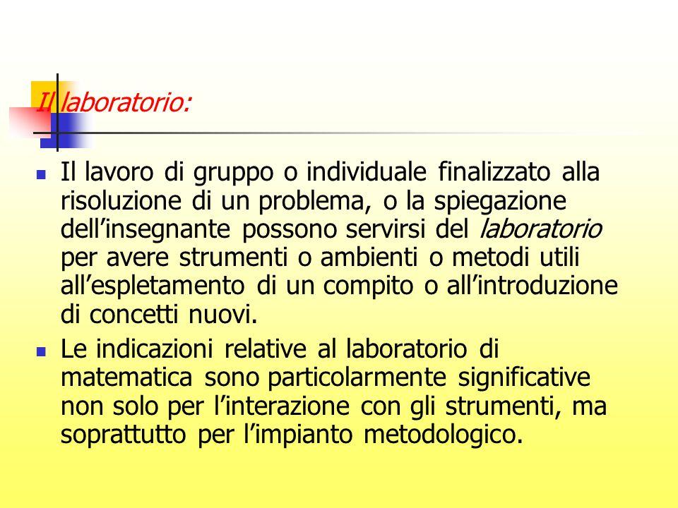Il laboratorio: Il lavoro di gruppo o individuale finalizzato alla risoluzione di un problema, o la spiegazione dell'insegnante possono servirsi del l
