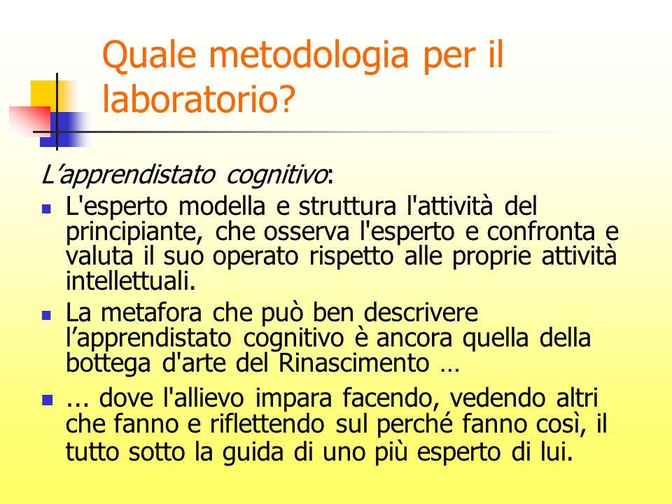 Quale metodologia per il laboratorio? L'apprendistato cognitivo: L'esperto modella e struttura l'attività del principiante, che osserva l'esperto e co