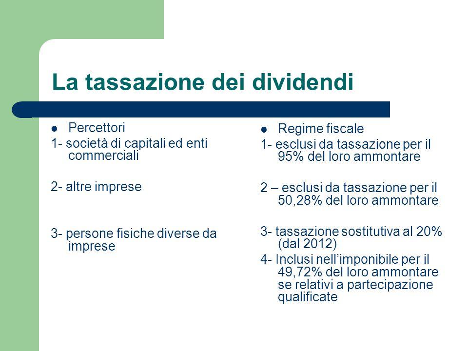 La tassazione dei redditi di capitale Principio di cassa: tassazione al momento in cui viene percepito (presunzione di percezione interessi e presunzione di fruttuosità dei mutui); Tassazione al lordo: senza la possibilità di dedurre gli eventuali costi; Soggetti a ritenute alla fonte a titolo d'imposta: tranne talune eccezioni (titoli di Stato, buoni fruttiferi postali e piani di risparmio) è del 20%