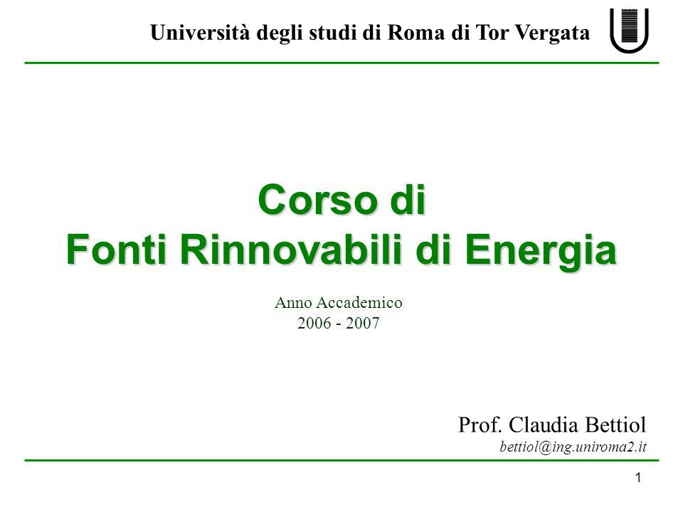 Anno Accademico 2006 - 2007 Università degli studi di Roma di Tor Vergata Prof.