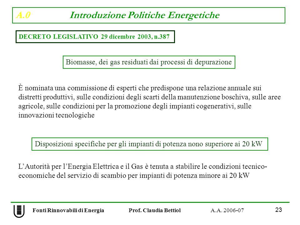 A.0 Introduzione Politiche Energetiche 23 Fonti Rinnovabili di Energia Prof.