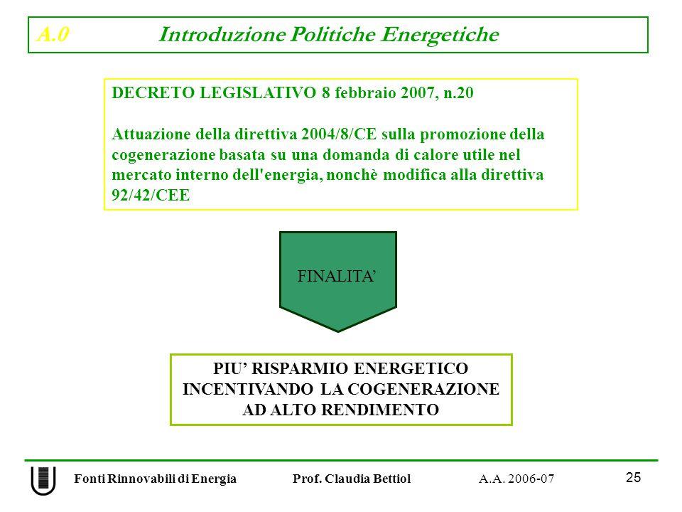 A.0 Introduzione Politiche Energetiche 25 Fonti Rinnovabili di Energia Prof.