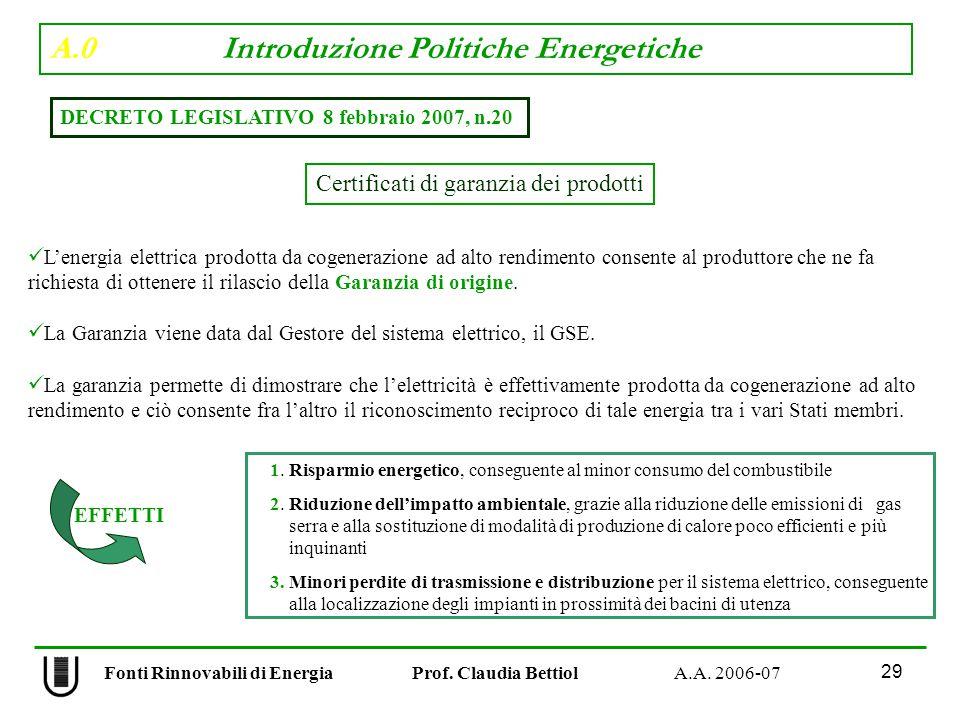 A.0 Introduzione Politiche Energetiche 29 Fonti Rinnovabili di Energia Prof.