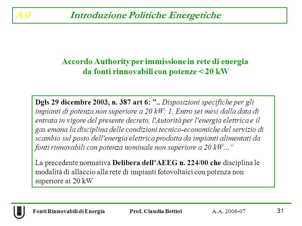 A.0 Introduzione Politiche Energetiche 31 Fonti Rinnovabili di Energia Prof.
